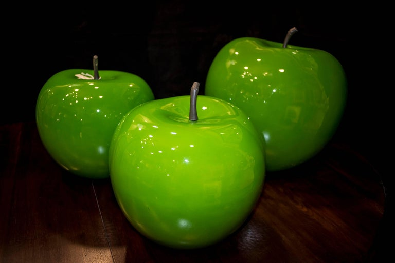An amazing collection of Danish fiberglass green apples. There are 2 big  one  ( 60 cm hight ) and  1 medium size ( 40 cm hight ) .Midcentury, circa 1960. They come from a private Italian collection , but they were bought  in Denmark  to a  danish