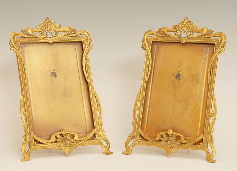 Pair of Art Nouveau Brass Picture Frames at 1stdibs