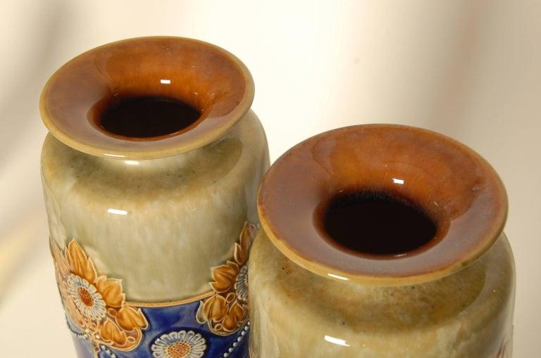 Art Nouveau Royal Doulton Stoneware Vases In Good Condition For Sale In Brighton, GB