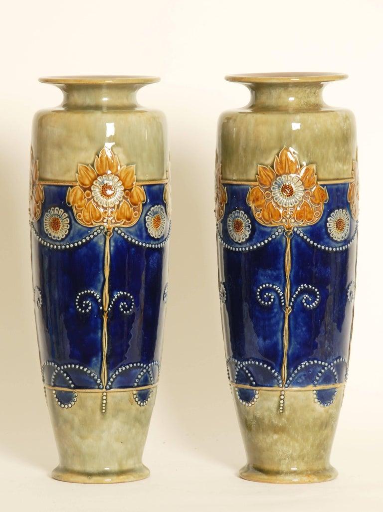20th Century Art Nouveau Royal Doulton Stoneware Vases For Sale