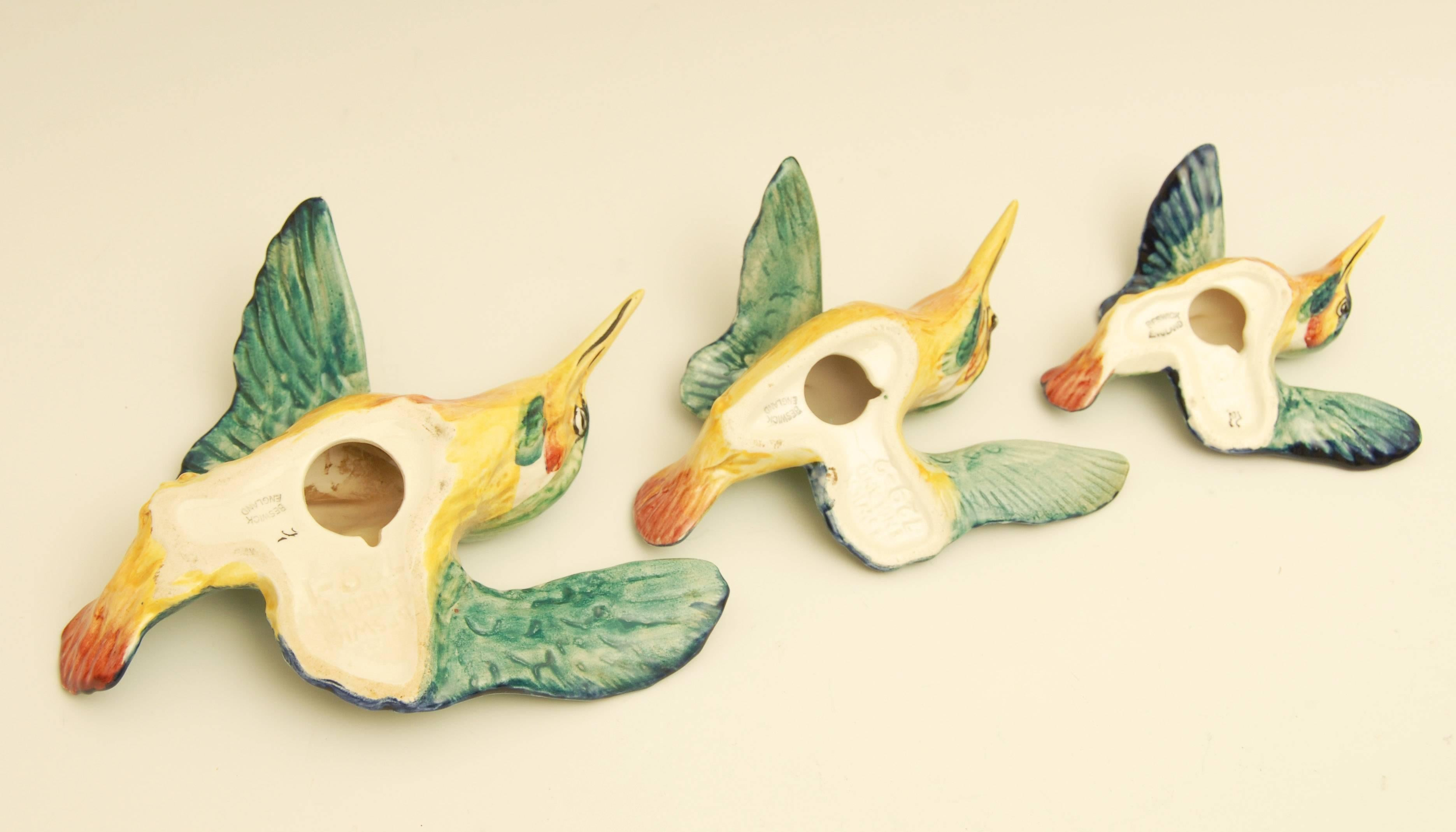 Beswick Flying Kingfisher Wall Plaques, Set of Three Birds For Sale ...