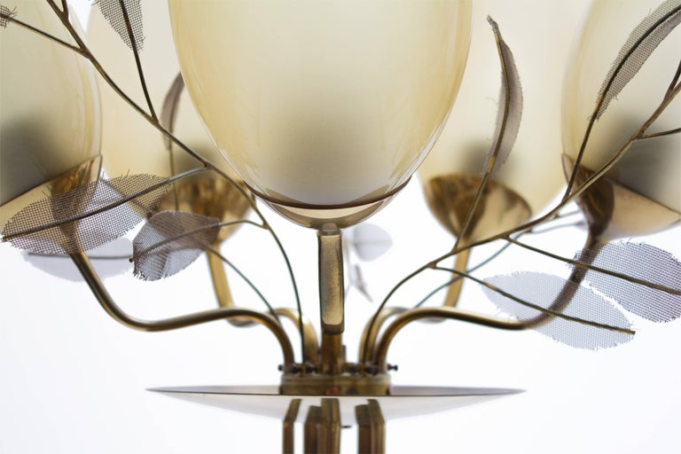 Finnish Paavo Tynell Five-Arm Chandelier for Taito Oy Model 9029/5, Finland, circa 1950 For Sale