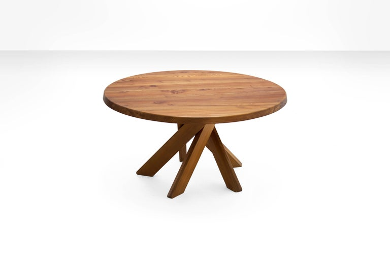Pierre Chapo T21D Dining Table in Solid Elm, France 1960s  This table is in very good vintage condition and belongs to the best Chapo has created. Although very sturdy the clever design of the legs, makes it elegant and pleasant to watch. The use of