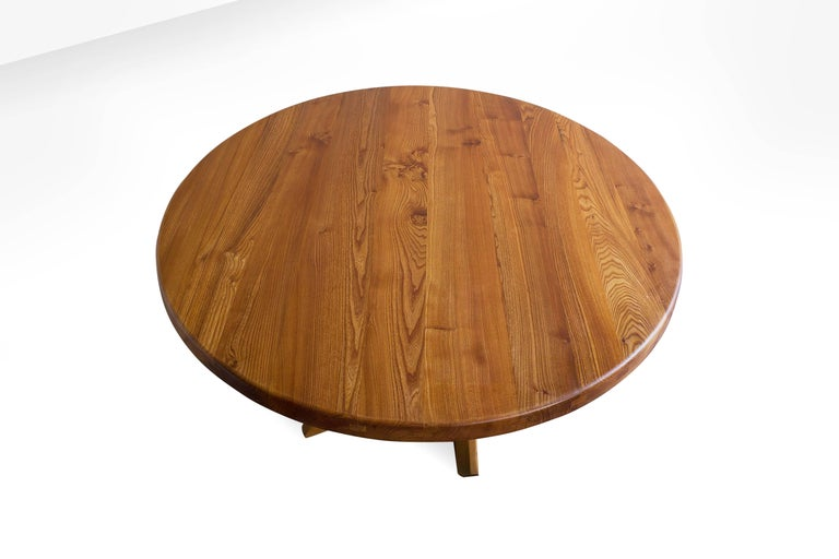 Mid-Century Modern Pierre Chapo T21D Round Dining Table in Solid Elm, France 1960s For Sale
