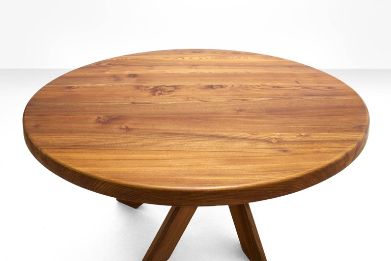 French Pierre Chapo T21D Round Dining Table in Solid Elm, France 1960s For Sale