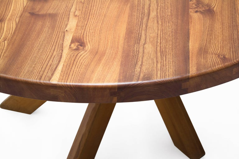 Pierre Chapo T21D Round Dining Table in Solid Elm, France 1960s In Good Condition For Sale In Utrecht, NL