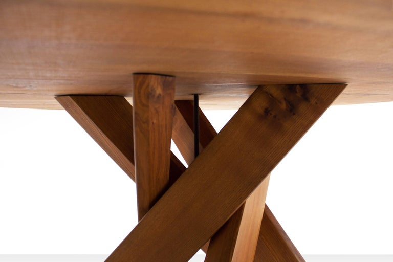Pierre Chapo T21D Round Dining Table in Solid Elm, France 1960s For Sale 1