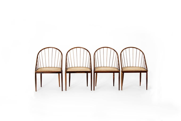 Set of Four Curved Dining Chairs by Joaquim Tenreiro, Brazil, 1960s For Sale 3
