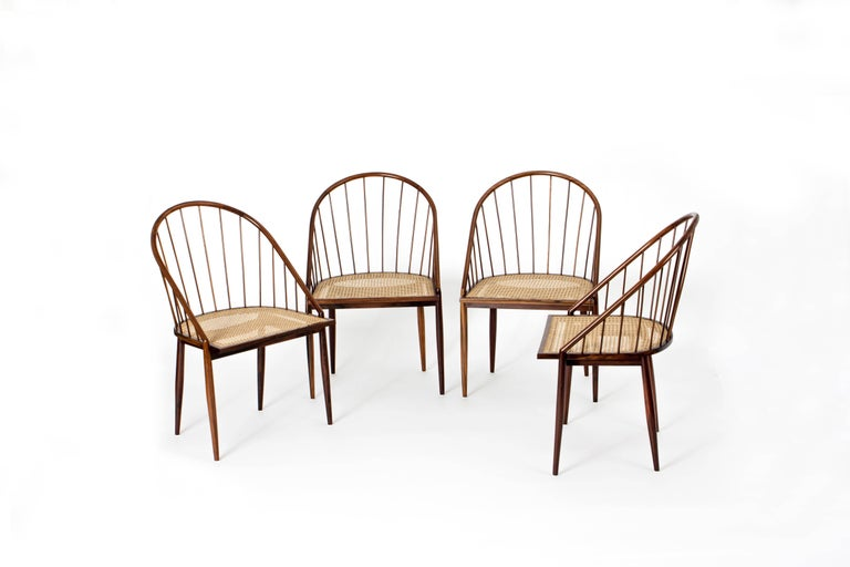 Mid-Century Modern Set of Four Curved Dining Chairs by Joaquim Tenreiro, Brazil, 1960s For Sale
