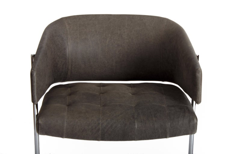 Mid-20th Century Pair of Grey Senior Armchairs by Jorge Zalszupin in Soft Leather, Brazil, 1960 For Sale