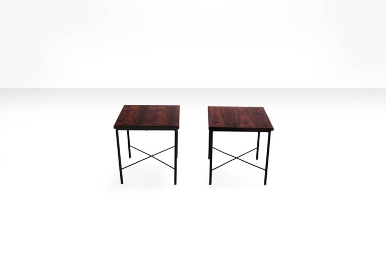 Iron Pair of Side Tables by Geraldo de Barros, Brazil, 1960s For Sale