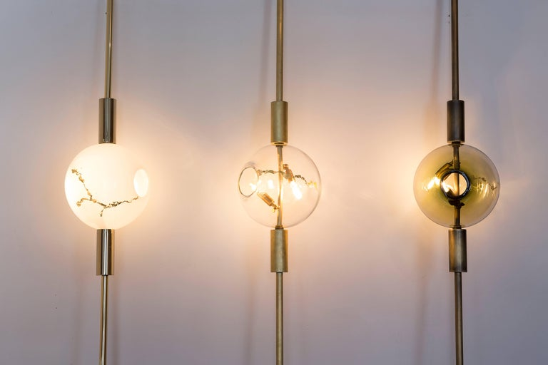 American Lean Light-Modern Handmade Glass with Gold Leaf and Brass Wall & Floor Lighting For Sale