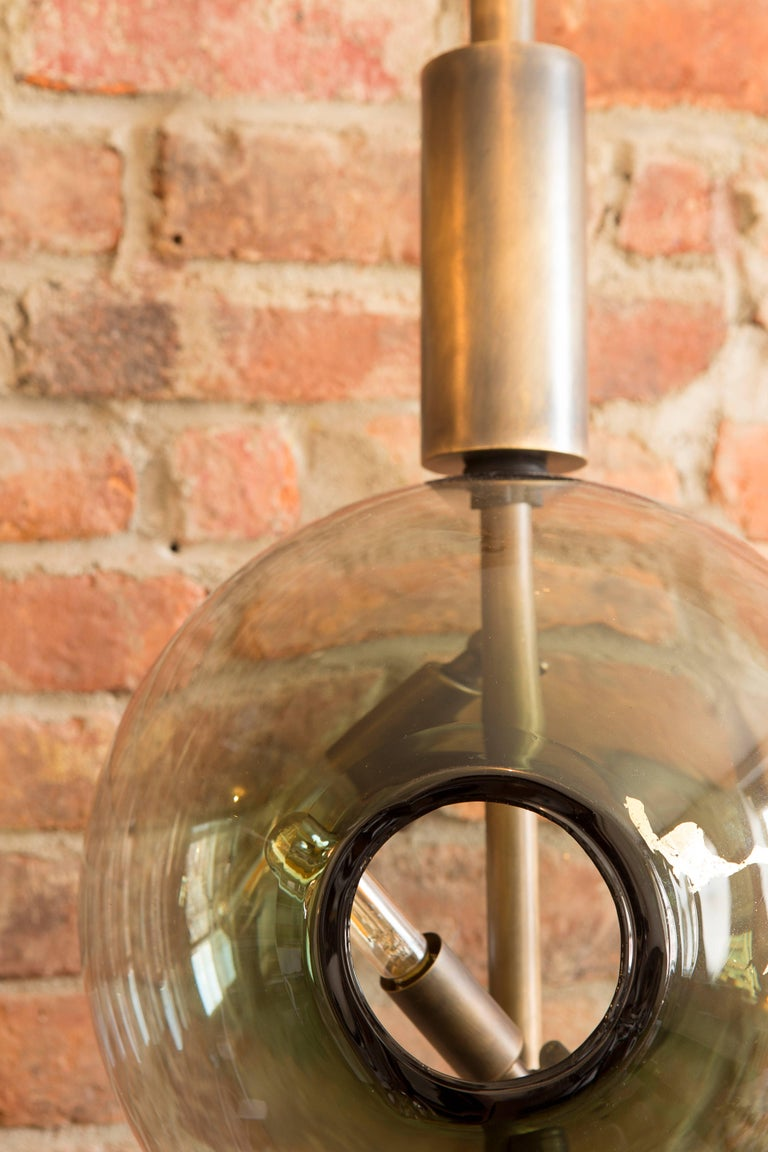 Blackened Lean Light-Modern Handmade Glass with Gold Leaf and Brass Wall & Floor Lighting For Sale