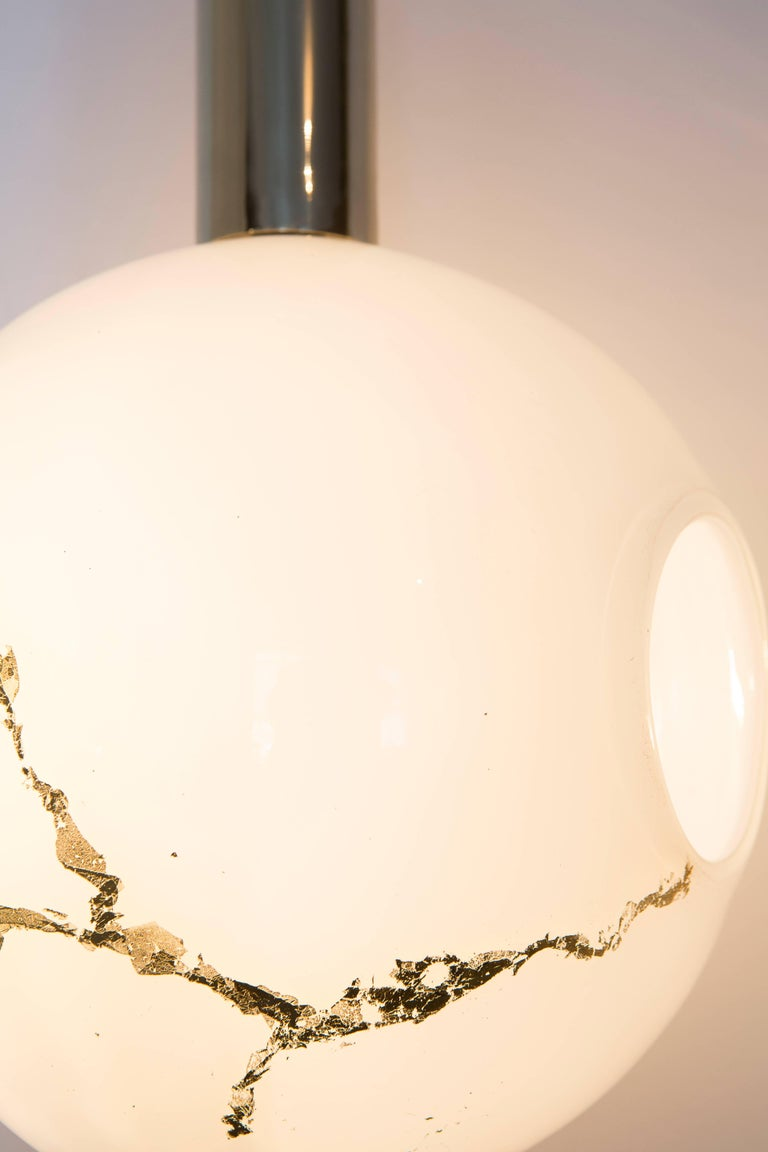 Lean Light-Modern Handmade Glass with Gold Leaf and Brass Wall & Floor Lighting For Sale 1