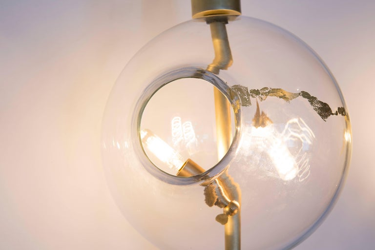 Lean Light-Modern Handmade Glass with Gold Leaf and Brass Wall & Floor Lighting For Sale 2