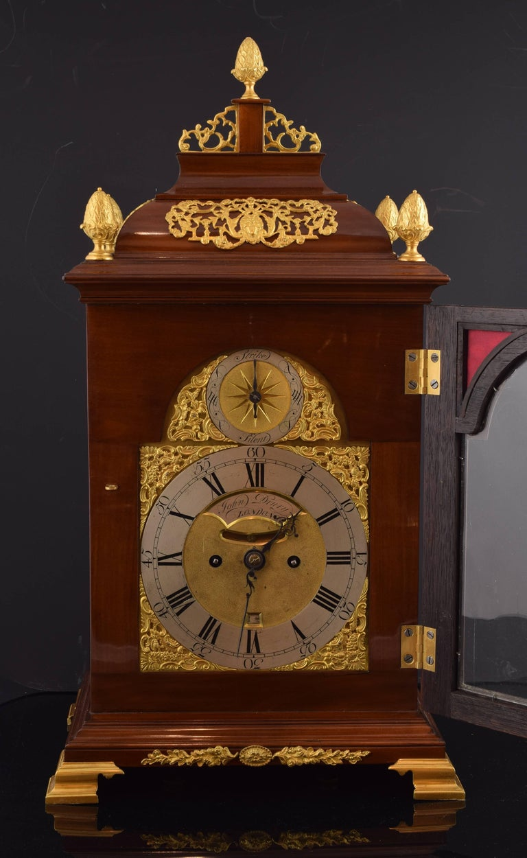 English Desktop Bracket Clock, John Drury, London, 1720- 1774 For Sale