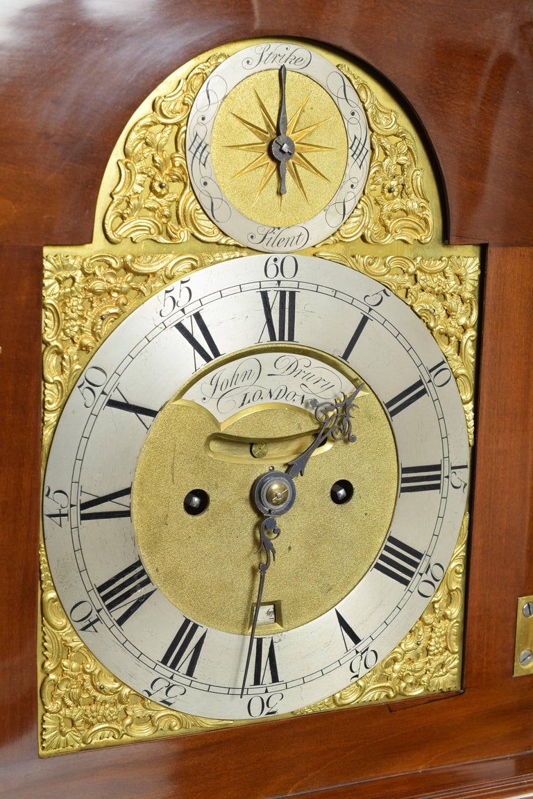 Wood Desktop Bracket Clock, John Drury, London, 1720- 1774 For Sale