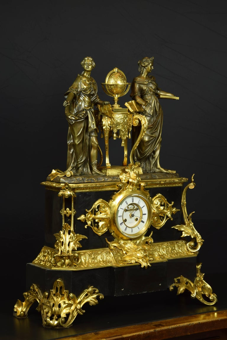 Carved French Table Clock with Allegory of Sciences, 19th Century For Sale