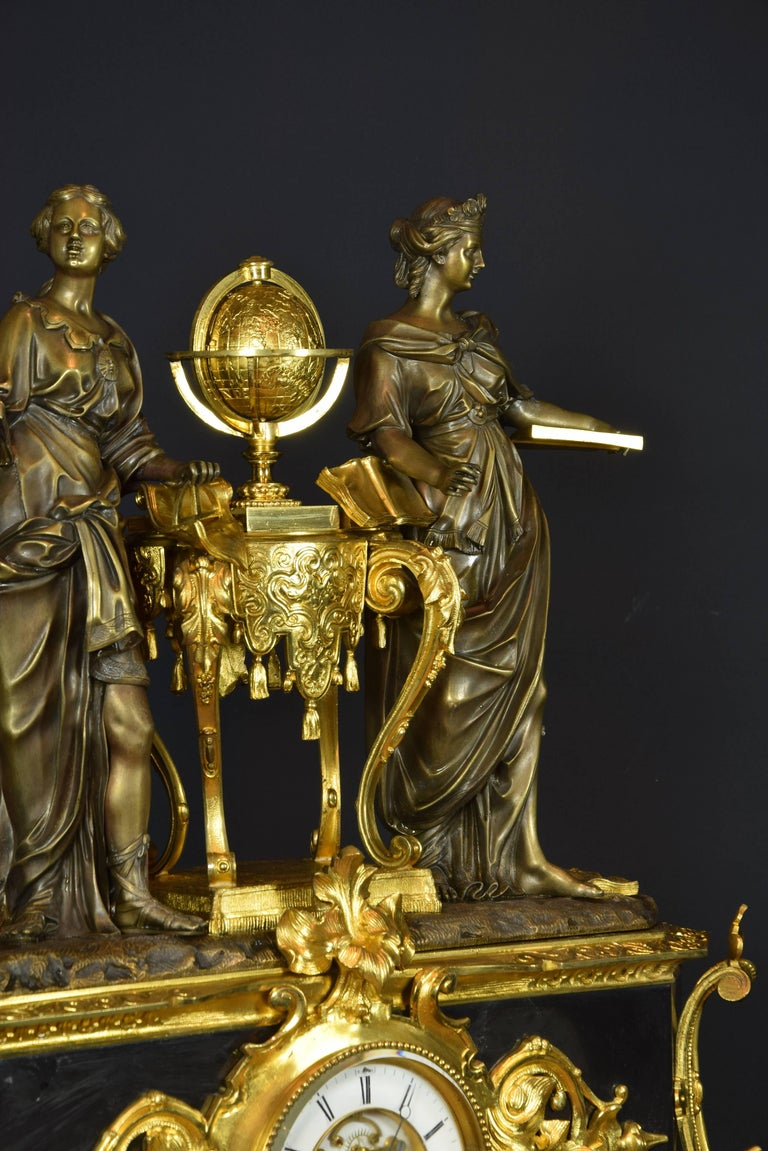 French Table Clock with Allegory of Sciences, 19th Century For Sale 1