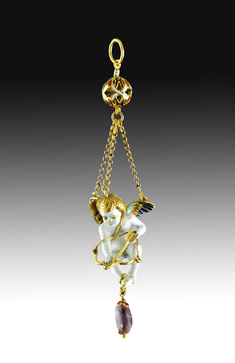 Cupid Pendant, Gold, Stones, Enamel, 17th Century In Excellent Condition For Sale In Madrid, ES