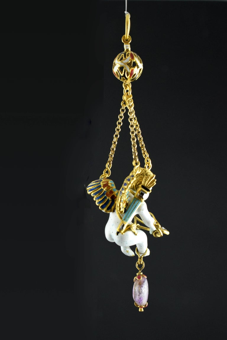 Baroque Cupid Pendant, Gold, Stones, Enamel, 17th Century For Sale