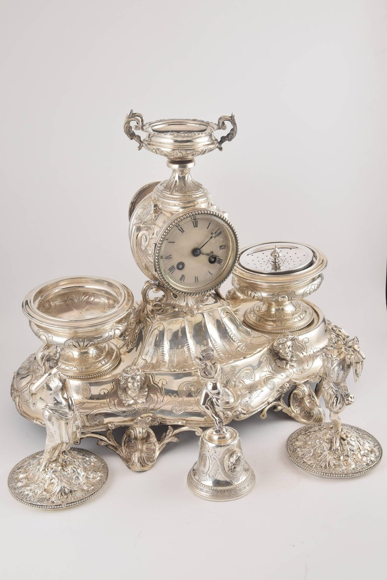 Solid Silver Writing Set With Clock France 19th Century