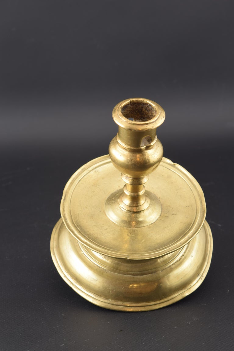 European Bronze Candle Holder, 16th Century For Sale