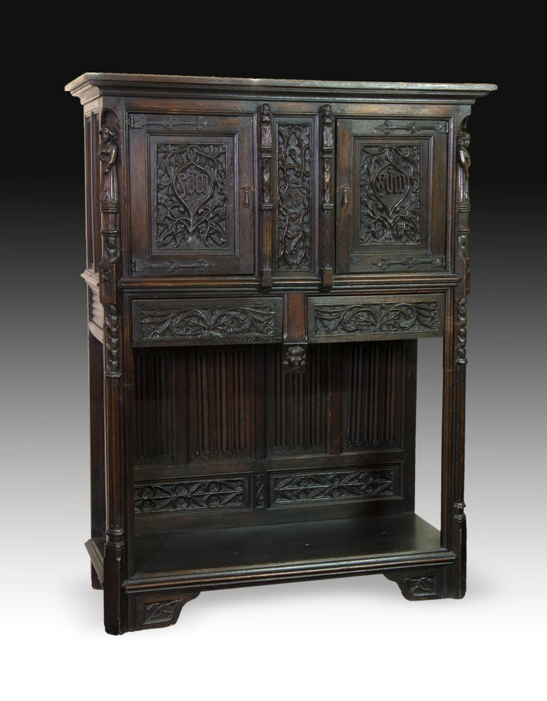 Gothic Revival Neogothic Cupboard, Oak, 19th Century For Sale