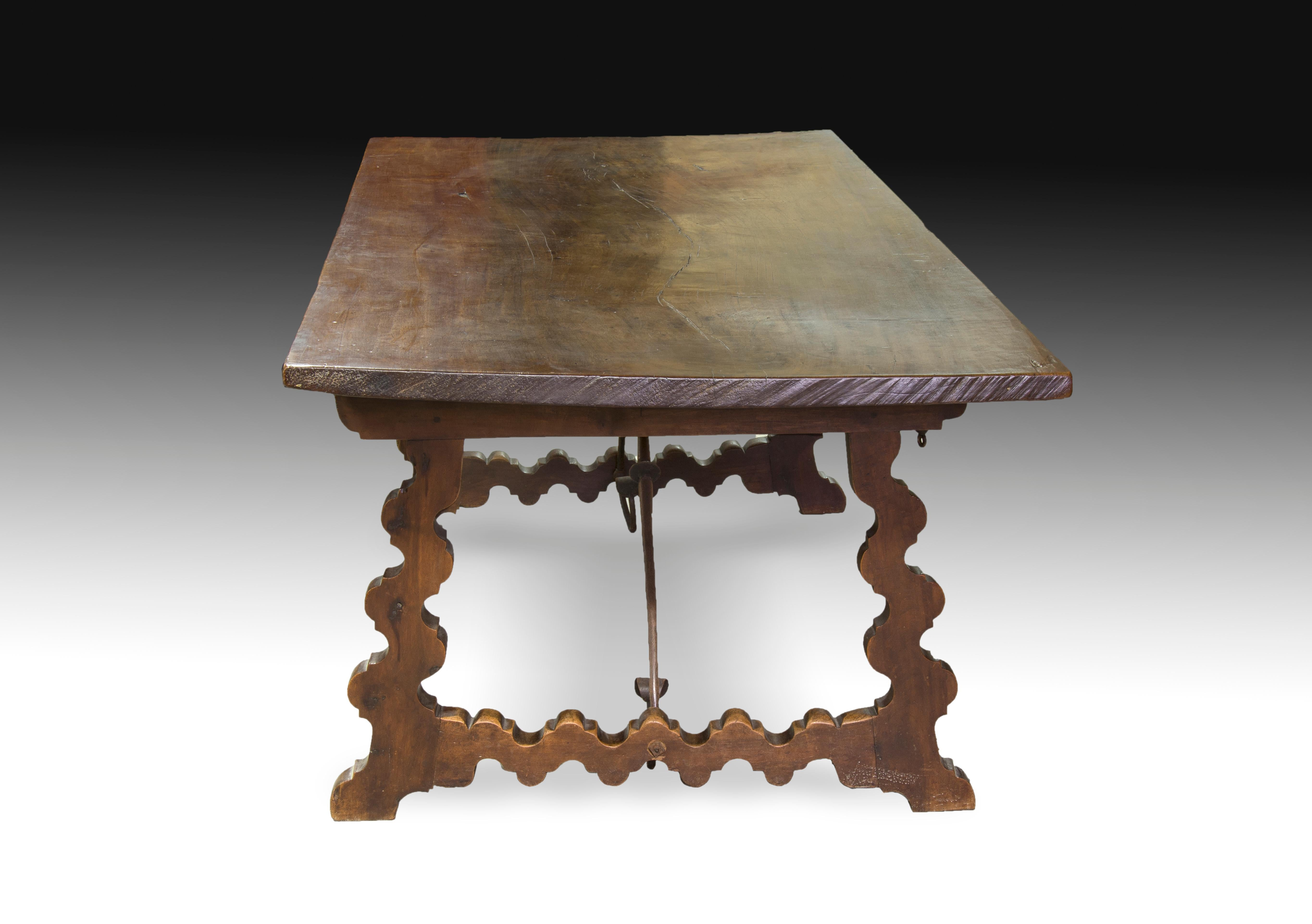 Baroque Walnut U201cLyre Legsu201d Table With Wrought Iron Fasteners, Spain,  Castille For
