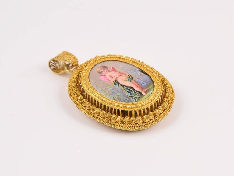 19th Century Empire Style Locket, circa 1800, 18-Karat Gold and Enamel For Sale