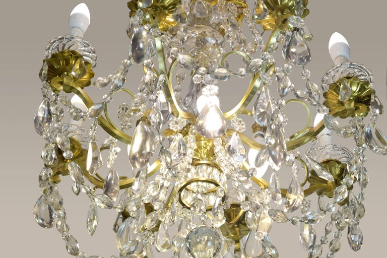 Baccarat Signed Chandelier Glass and Gilt Bronze, 19th Century For Sale 1