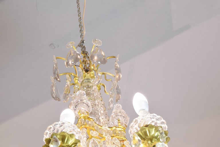Baccarat Signed Chandelier Glass and Gilt Bronze, 19th Century In Excellent Condition For Sale In Madrid, ES