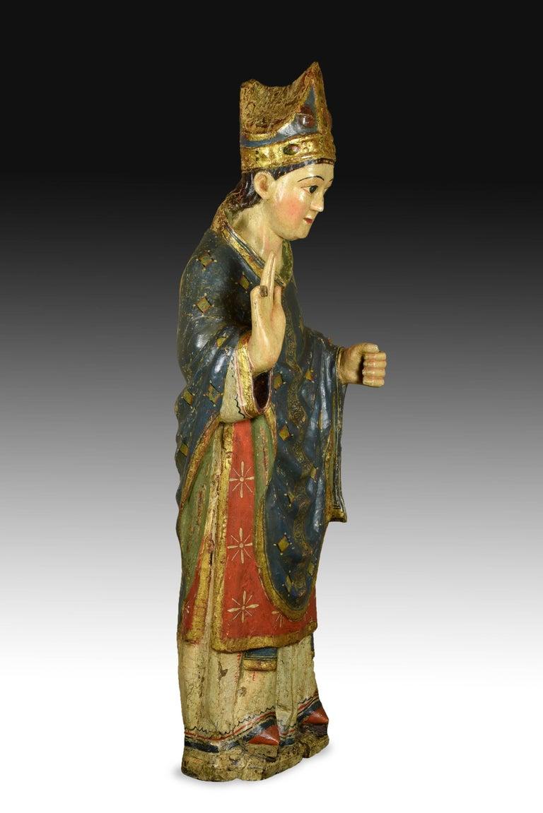 """""""Saint Blaise"""". Wood. Castillian school, Spain, 14th century. For Sale 2"""