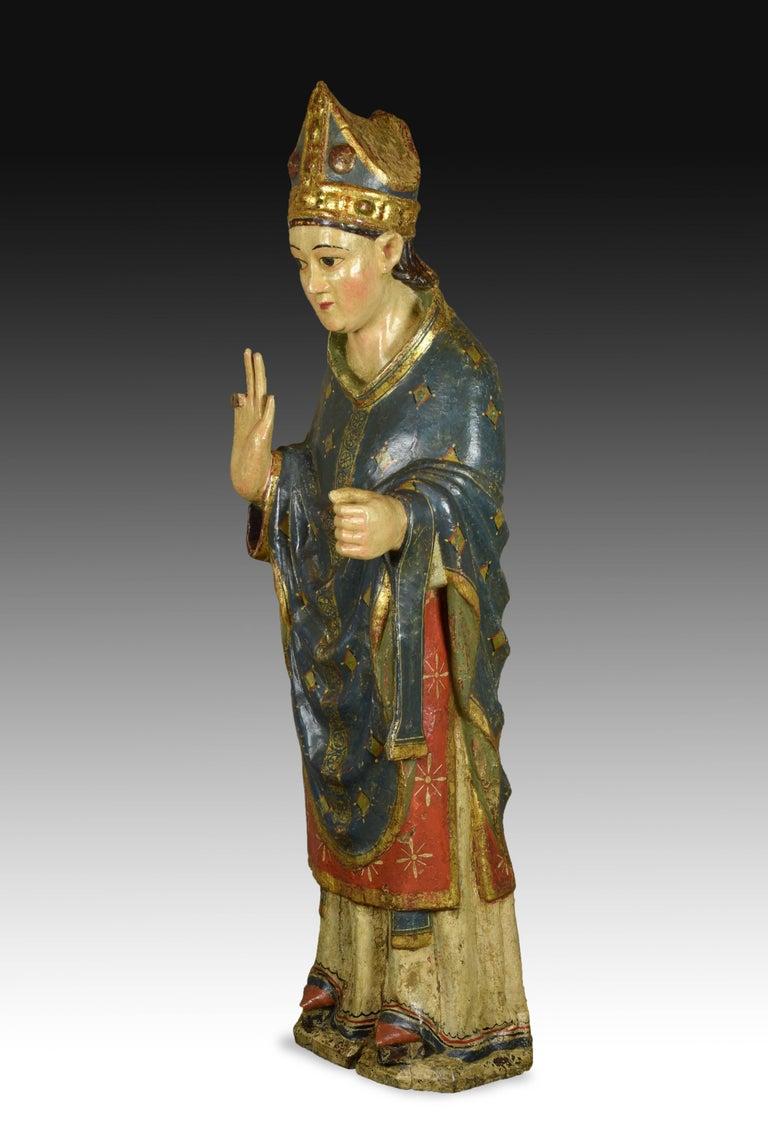 """""""Saint Blaise"""". Wood. Castillian school, Spain, 14th century. For Sale 1"""