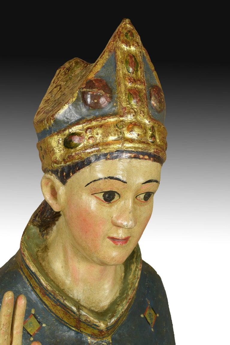 """Medieval """"Saint Blaise"""". Wood. Castillian school, Spain, 14th century. For Sale"""