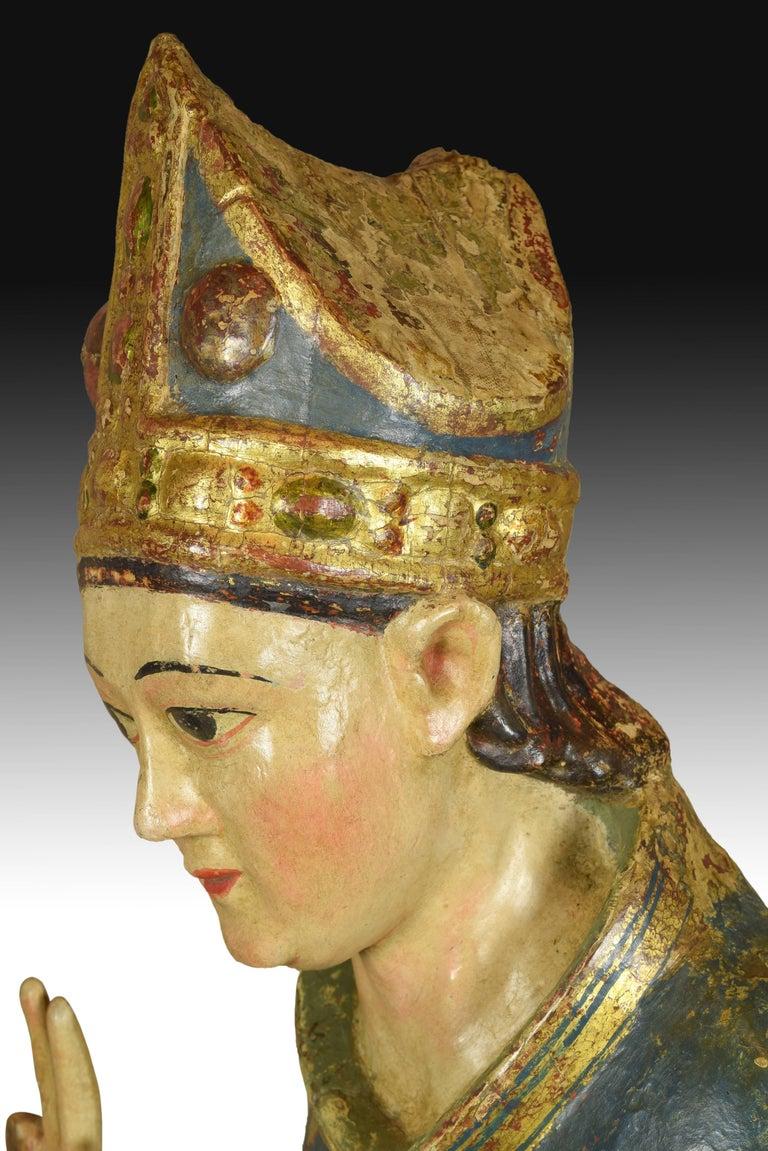 """Polychromed """"Saint Blaise"""". Wood. Castillian school, Spain, 14th century. For Sale"""