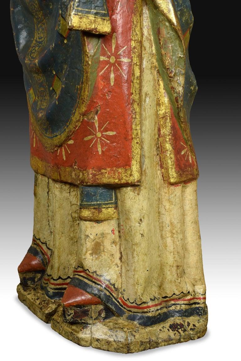 """Spanish """"Saint Blaise"""". Wood. Castillian school, Spain, 14th century. For Sale"""