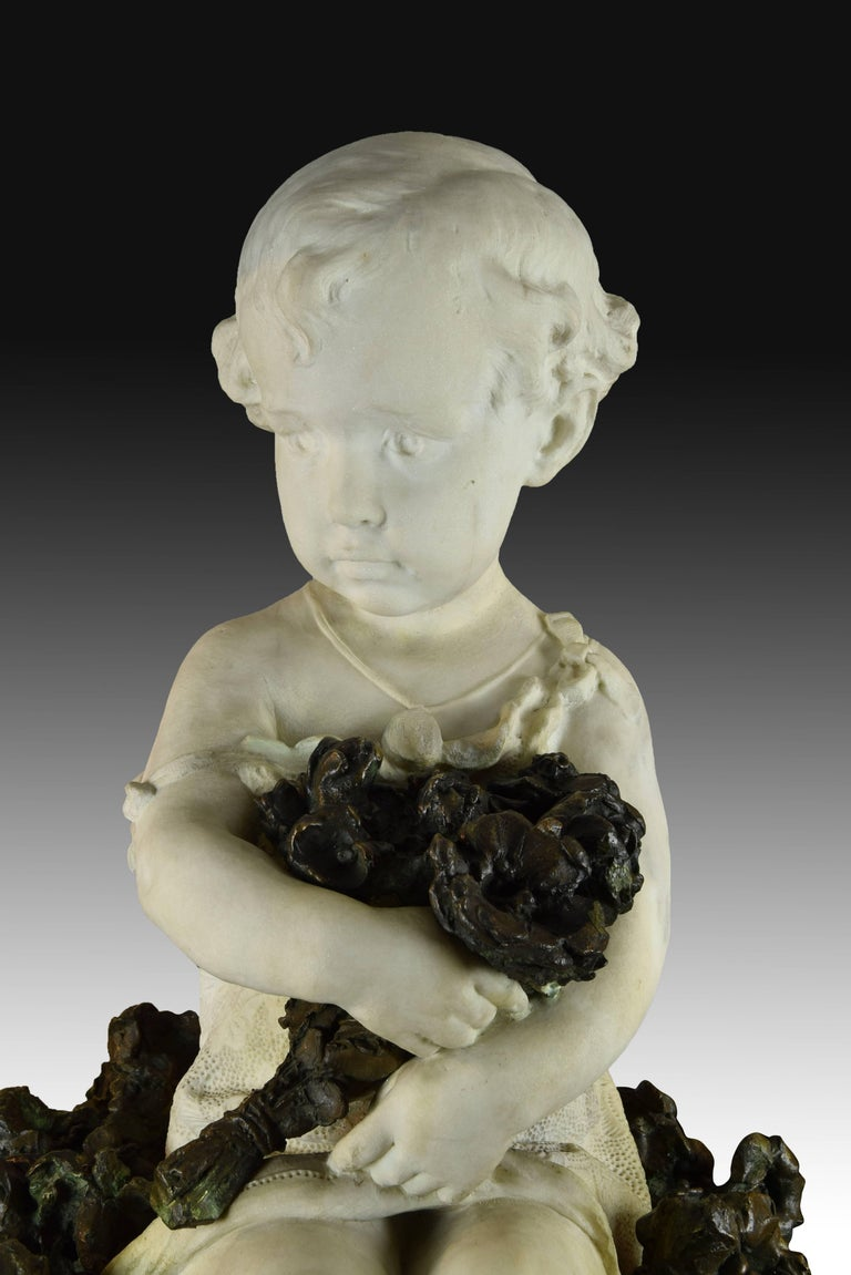 """""""Child Portrait"""" Marble and Bronze, Spain, 19th Century For Sale 1"""