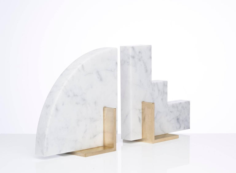 Australian Odd Couple Bookends in Carrara Marble For Sale