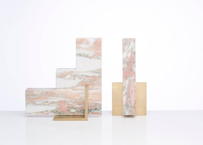 Brushed Odd Couple Bookends in Norwegian Rose Marble For Sale