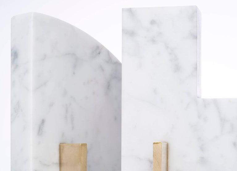 Brushed Odd Couple Bookends in Carrara Marble For Sale