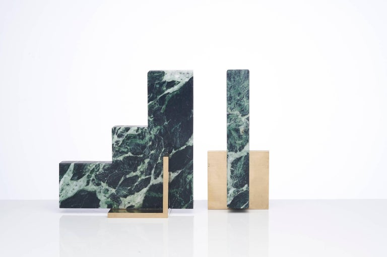 Brushed Odd Couple Bookends in Green Marble For Sale