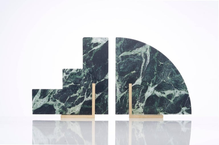 Australian Odd Couple Bookends in Green Marble For Sale