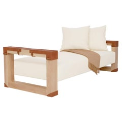 Verona Daybed Lounge Seating with Leather Armrest Detail by Carbonell Design
