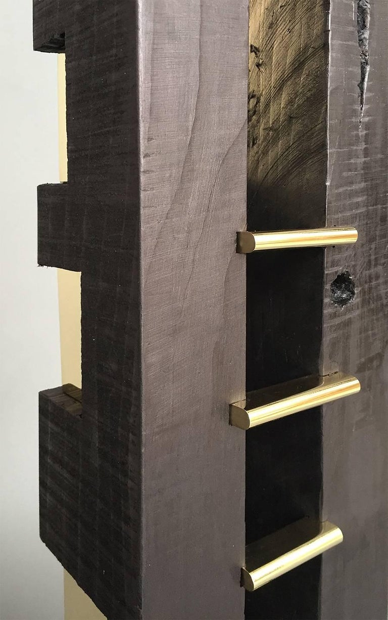Contemporary 24-Karat Black TOTEM Sculpture in Ebonized Wood and Solid Brass For Sale