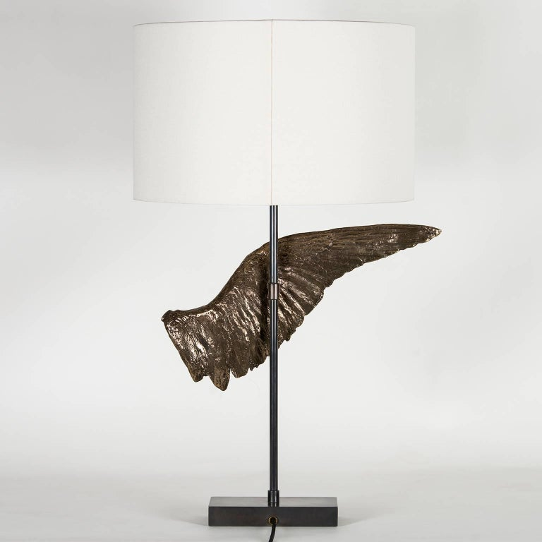 Other 'Voltaire' Sculptural Cast Bronze Wing Table Lamp by Vivian Carbonell For Sale