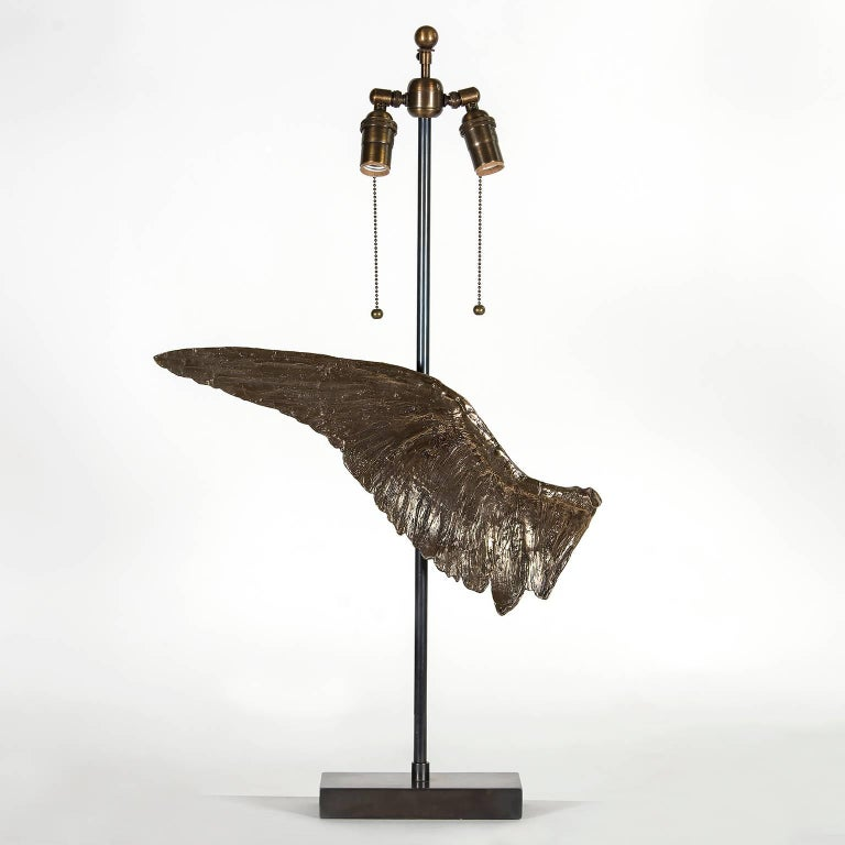 American 'Voltaire' Sculptural Cast Bronze Wing Table Lamp by Vivian Carbonell For Sale