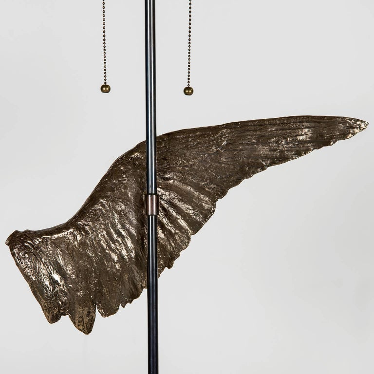 'Voltaire' Sculptural Cast Bronze Wing Table Lamp by Vivian Carbonell In New Condition For Sale In Miami, FL