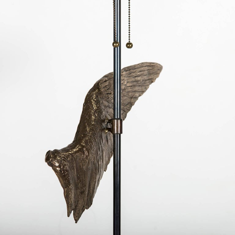 Contemporary 'Voltaire' Sculptural Cast Bronze Wing Table Lamp by Vivian Carbonell For Sale