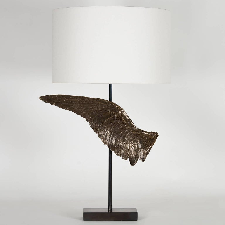 Brass 'Voltaire' Sculptural Cast Bronze Wing Table Lamp by Vivian Carbonell For Sale